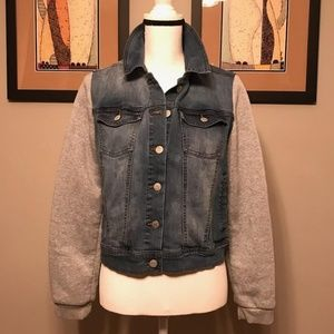Denim Sweatshirt Jacket, Size L